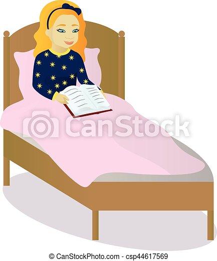 little girl read book in bed vector illustration clip art vector rh canstockphoto com woman sleeping in bed clipart woman sleeping in bed clipart