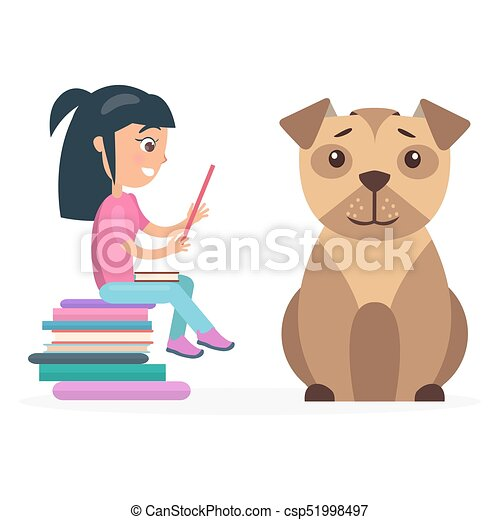 Little girl reads from tablet beside huge dog little girl sits on little girl sits on pile of books and reads from tablet besides huge dog isolated vector illustration on white background voltagebd Choice Image