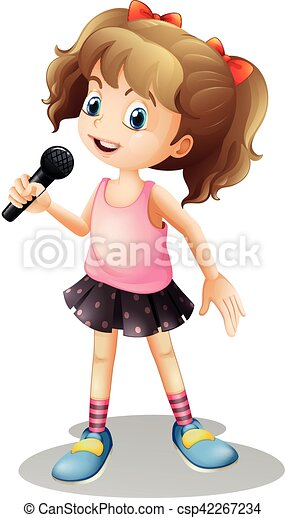 little girl singing song illustration rh canstockphoto com cartoon little girl singing cartoon girl singing with microphone