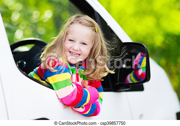Little Girl Sitting In White Car Little Girl With Funny