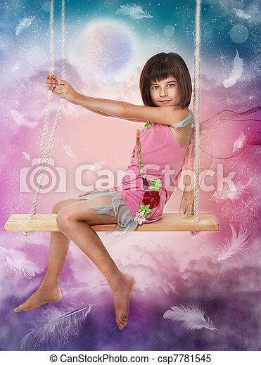 Little girl sitting on the swing  - csp7781545