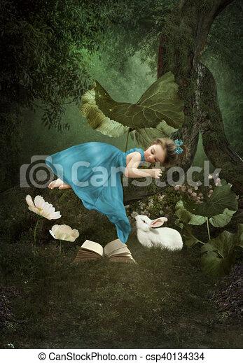 Little Girl Sleeping In Forest Little Girl Sleeping On A