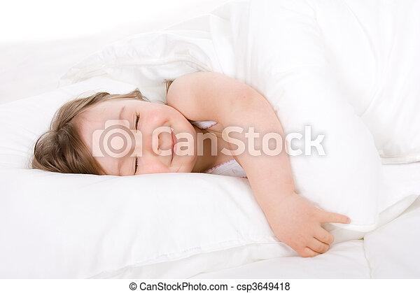 little girl sleeping - csp3649418