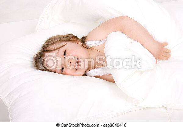 little girl sleeping - csp3649416