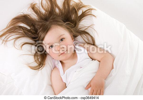 little girl sleeping - csp3649414