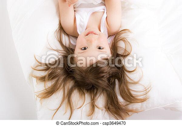 little girl sleeping - csp3649470