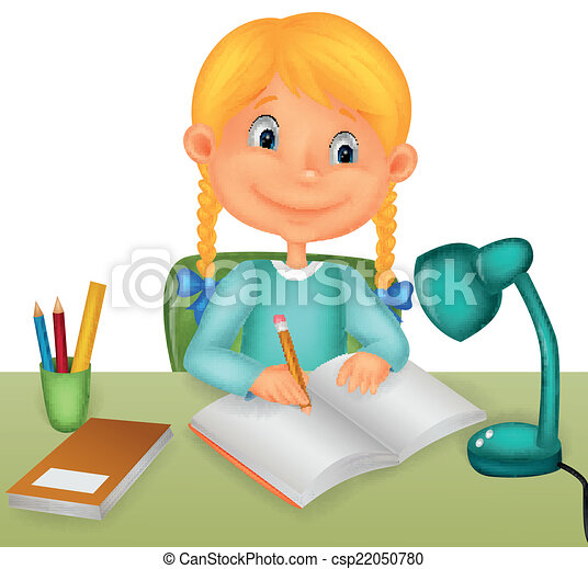 vector illustration of little girl studying vector search clip art rh canstockphoto com sg girl studying clipart black and white College Student Studying Clip Art