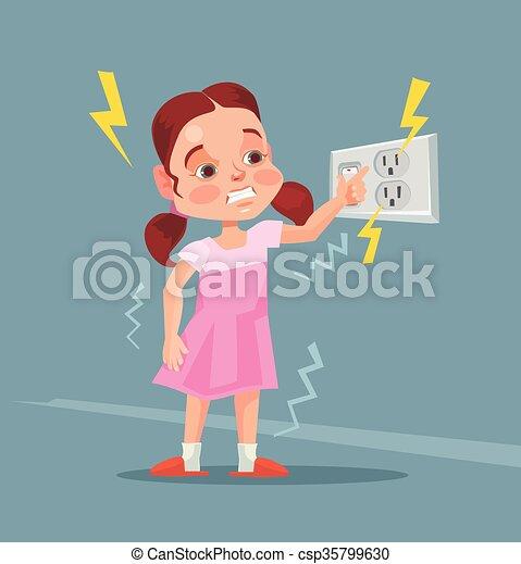 Little girl touching covered socket - csp35799630