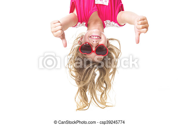 Little girl upside down - csp39245774