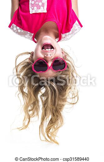 Little girl upside down - csp31589440