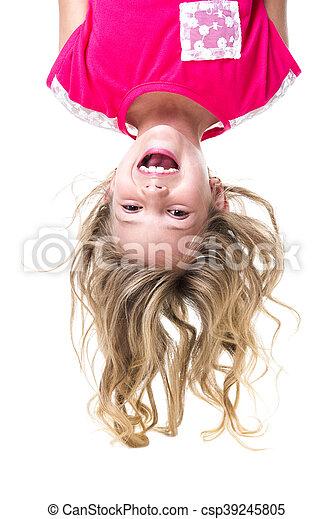 Little girl upside down - csp39245805