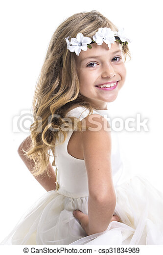 Little girl white dress - csp31834989