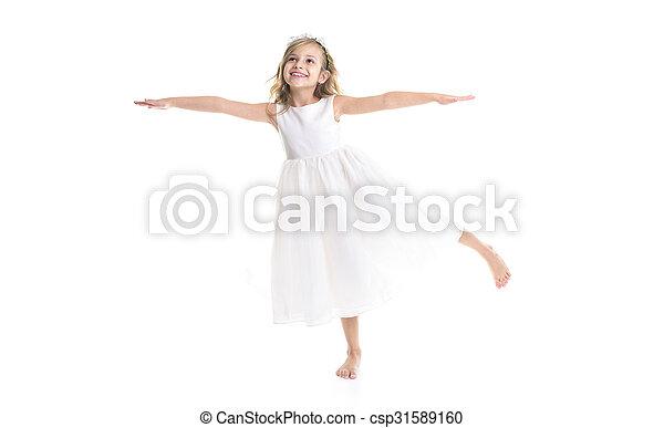 Little girl white dress - csp31589160