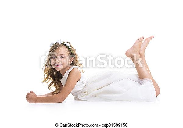Little girl white dress - csp31589150