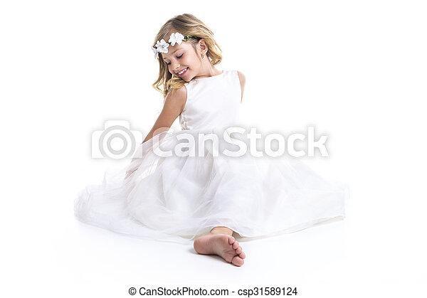 Little girl white dress - csp31589124
