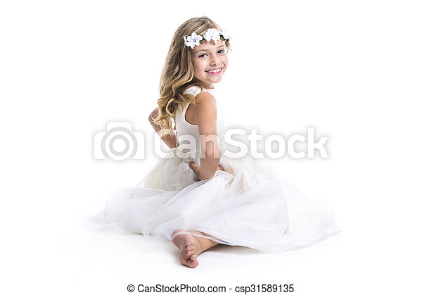 Little girl white dress - csp31589135
