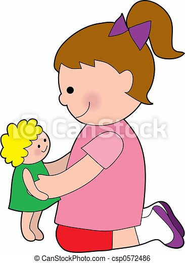 little girl with a baby doll little girl playing with a rag doll rh canstockphoto com doll clipart png doll clipart images black and white