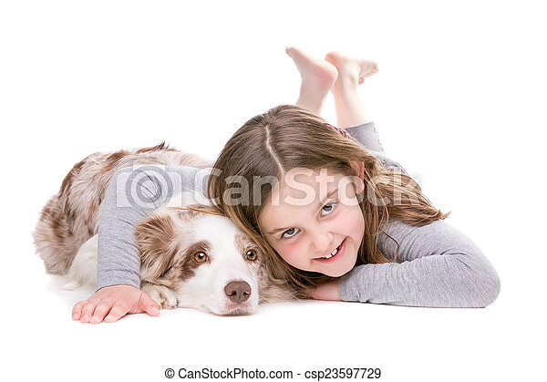 little girl with a border collie - csp23597729