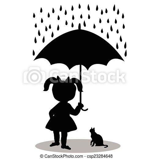 Little girl with a cat under an umbrella - csp23284648