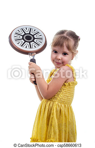 little girl with a frying pan isolated on white - csp58660613