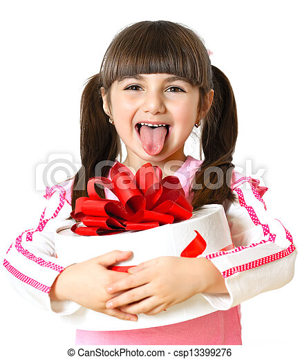 little girl with a gift on a white background - csp13399276