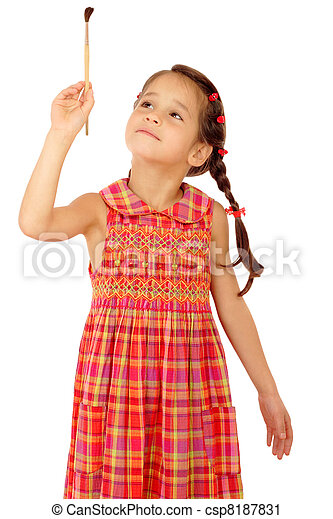 Little girl with a paintbrush, front view, isolated on white - csp8187831