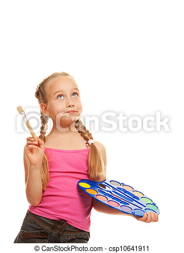 little girl with a paintbrush, Isolated on white - csp10641911