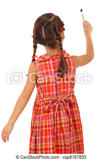Little girl with a paintbrush, rear view, isolated on white - csp8187833