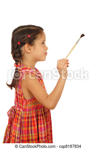 Little girl with a paintbrush, side view, isolated on white - csp8187834