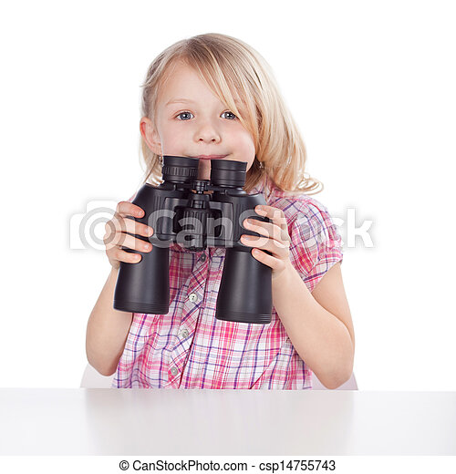 Little girl with a pair of binoculars - csp14755743