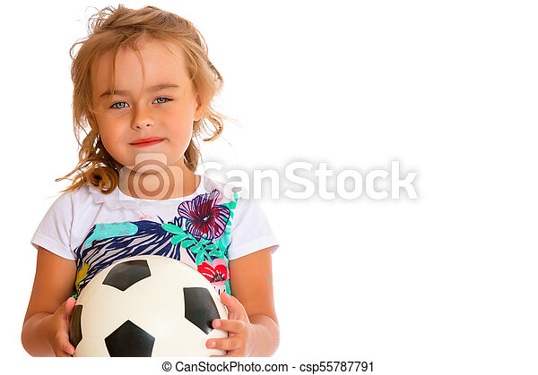7a419dbf2 Little girl with a soccer ball. Adorable little girl with a soccer ...