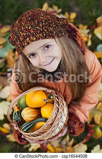 Little girl with autumn pumpkins in a basket - csp16544508