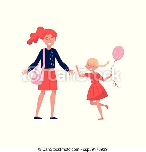 Little girl with balloon in hand running towards her mom. Cheerful mother with wide-open arms. Kid with happy face. Flat vector design - csp59178939