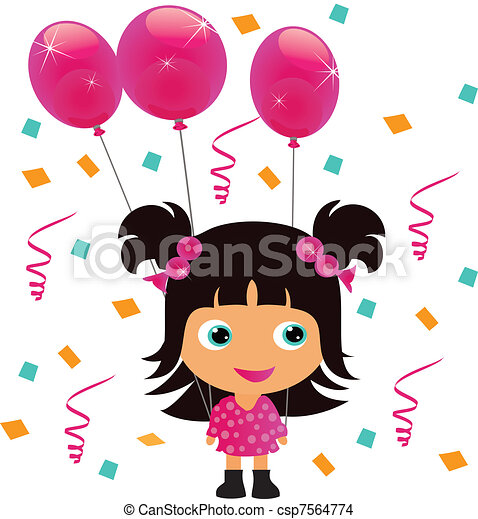 little girl with balloons little girl with pink birthday eps rh canstockphoto com birthday party girl clipart birthday girl clip art free