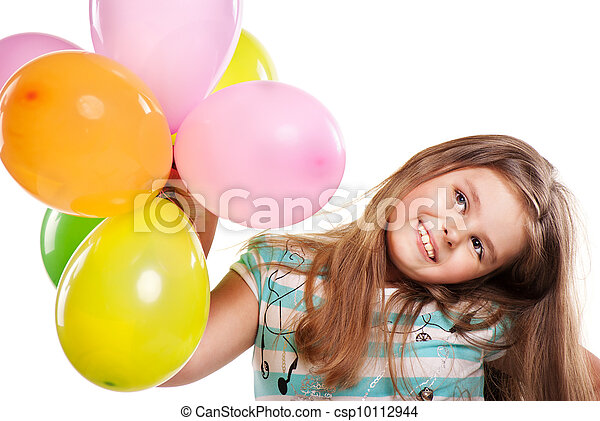 Little girl with balloons on a white background - csp10112944