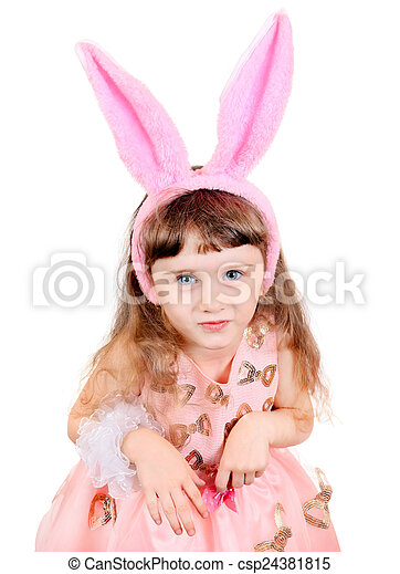 Little Girl with Bunny Ears - csp24381815