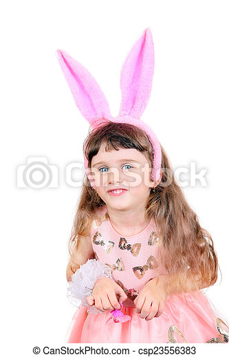 Little Girl with Bunny Ears - csp23556383