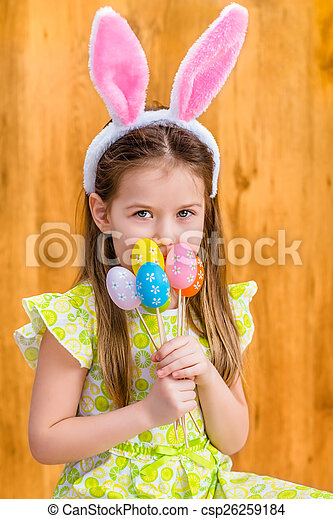 Little girl with bunny ears - csp26259184