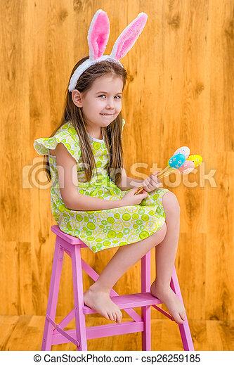 Little girl with bunny ears - csp26259185
