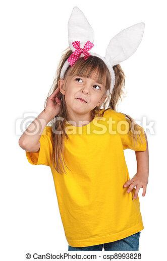 Little girl with bunny ears - csp8993828