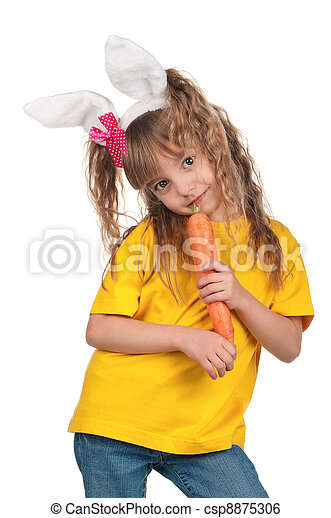 Little girl with bunny ears - csp8875306