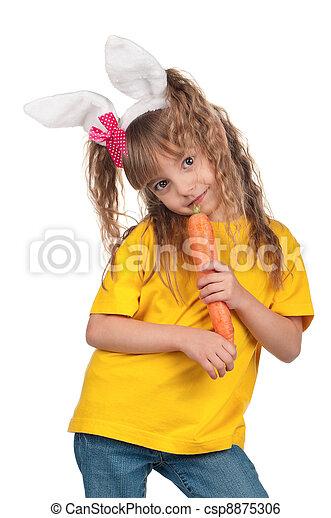 Little girl with bunny ears - csp8875306
