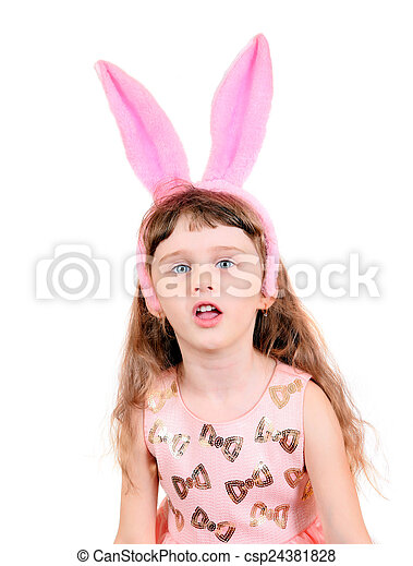 Little Girl with Bunny Ears - csp24381828
