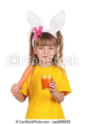 Little girl with bunny ears - csp9268282