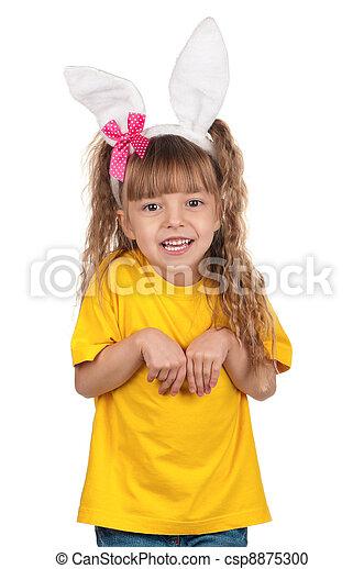 Little girl with bunny ears - csp8875300