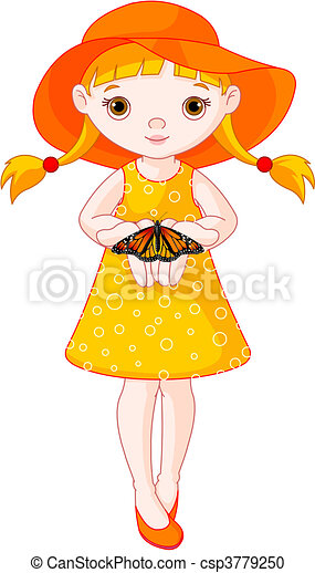 little girl with butterfly illustration of cute little