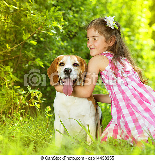 Little girl with dog - csp14438355