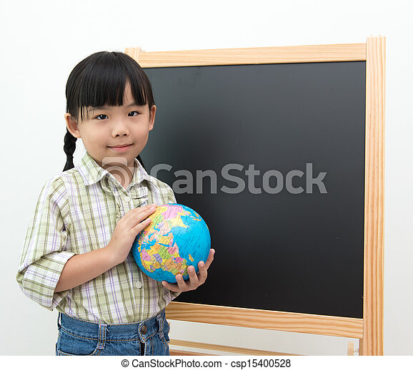 Little girl with globe - csp15400528