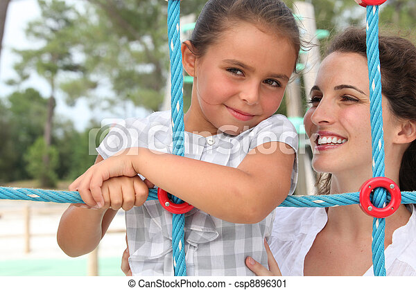 little girl with her mummy - csp8896301