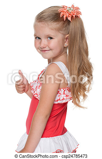 Little girl with her thumb up looks back - csp24785473